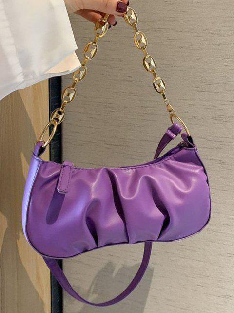 hot Pleated Chain Solid Shoulder Bag - JASMINE PURPLE  Mobile