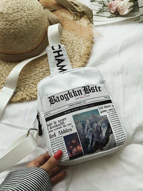 lady Newspaper Print Canvas Crossbody Bag - MILK WHITE  Mobile