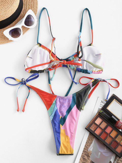new ZAFUL Bowknot Colorblock Tie Side String Bikini Swimwear - MULTI M Mobile
