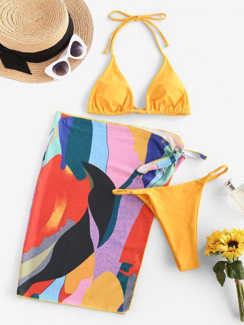 ZAFUL Costume da Bagno Bikini a Tre Pezzi con Stampa Floreale - Giallo S Mobile