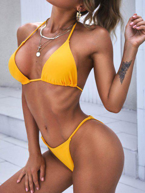 ZAFUL Biquíni de Três Peças Bloco de Cores Estampado - Amarelo M Mobile