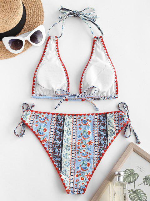 trendy ZAFUL Ethnic Print Cinched Halter Plunge Bikini Swimwear - LIGHT BLUE M Mobile