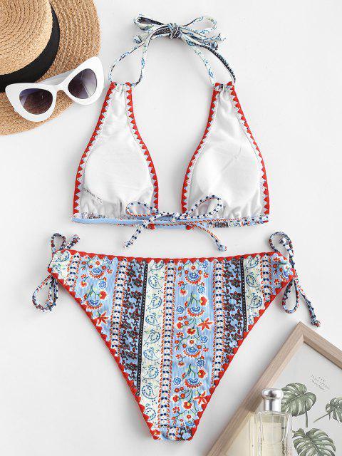fashion ZAFUL Ethnic Print Cinched Halter Plunge Bikini Swimwear - LIGHT BLUE L Mobile