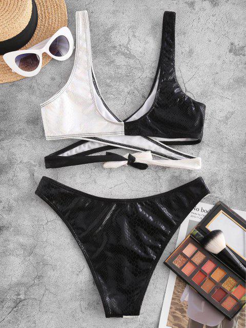 Costume da Bagno Bikini Incrociato a Blocchi di Colore con Scollo Profondo di ZAFUL - Nero S Mobile