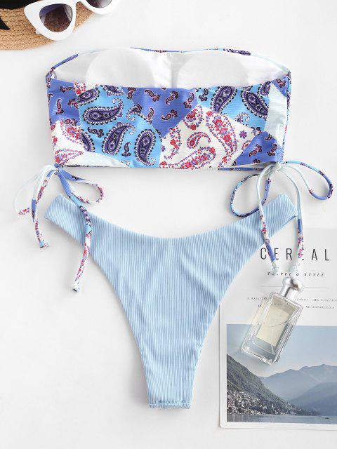 online ZAFUL Paisley Patchwork Cinched Ribbed Bandeau Tankini Swimwear - LIGHT BLUE S Mobile