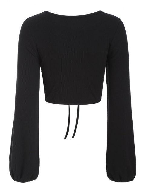 ZAFUL Geripptes Schlüsselloch Tunnelzug Crop T-Shirt - Schwarz M Mobile