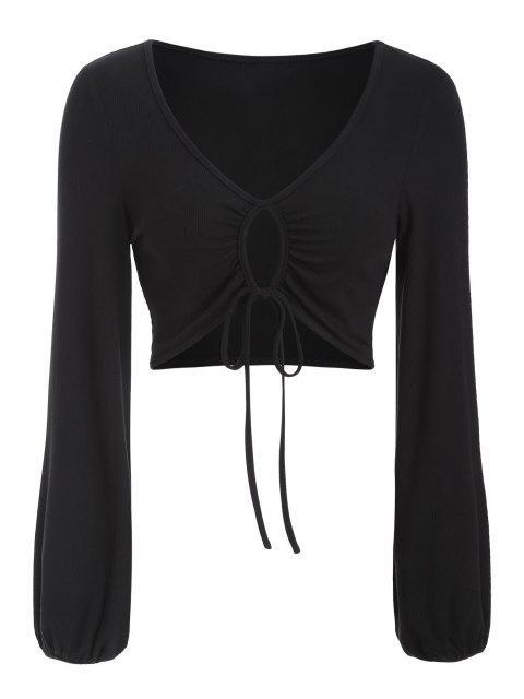 women's ZAFUL Ribbed Keyhole Drawstring Crop T Shirt - BLACK L Mobile