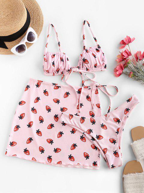 ZAFUL Costume da Bagno Bikini Annodato a Costine con Stampa Fragola - Rosa chiaro S Mobile