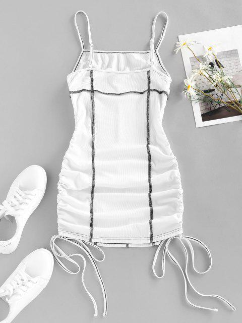 ZAFUL Geripptes Fettdruck Gerafftes Kleid - Weiß S Mobile