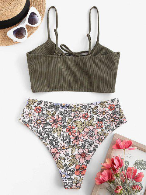 new ZAFUL Ribbed Plant Print Lace Up Tankini Swimwear - LIGHT GREEN L Mobile