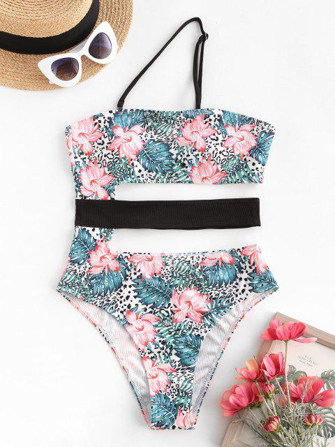 womens ZAFUL Floral Leaves Cut Out One Shoulder One-piece Swimsuit - GREEN M Mobile