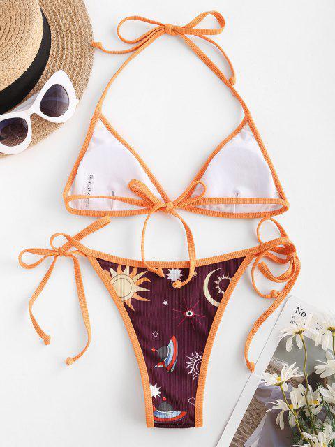ZAFUL Costume da Bagno Bikini a Contrasto e Luna - Arancione Scuro S Mobile