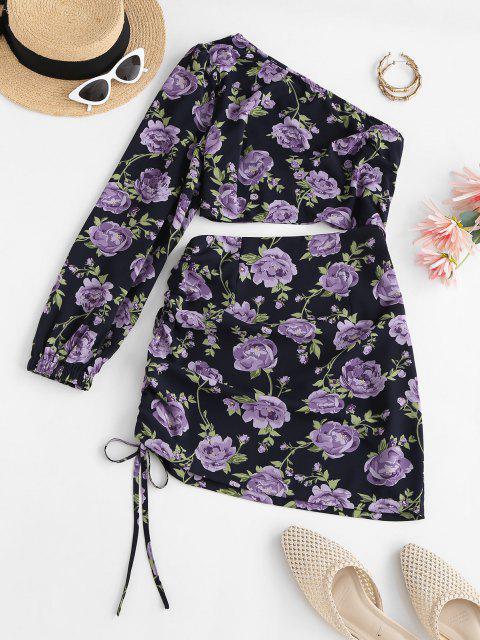 shop ZAFUL Flower One Shoulder Cutout Cinched Bodycon Dress - BLACK L Mobile