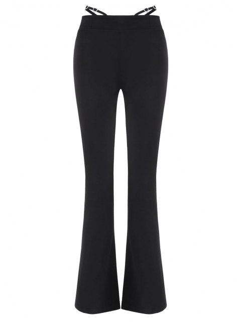 best Rhinestone Embellish Strappy Waist Boot Cut Pants - BLACK L Mobile