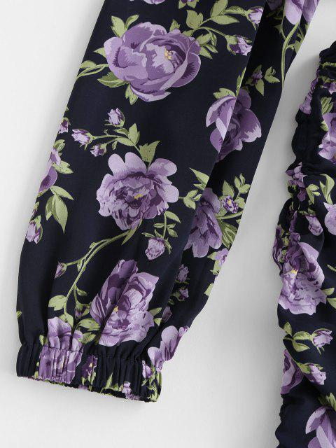 ZAFUL Robe Moulante Fleur Découpée à Une Epaule à Volants - Noir M Mobile