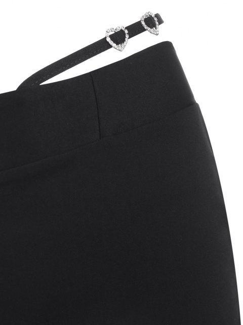 Strass Verschönerte Riemchen Hose mit Hoher Taille - Schwarz S Mobile