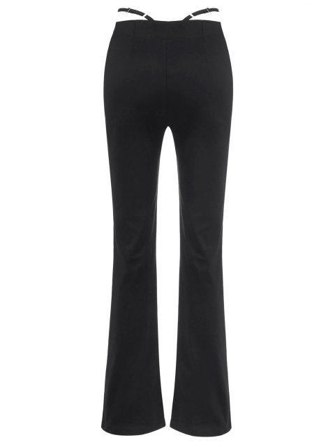 Pantaloni di Taglio a Vita Larga con Lacci e Strass con Spalline - Nero XL Mobile