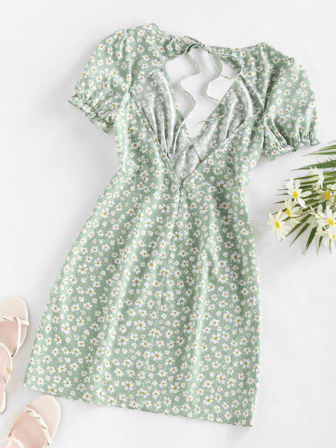 fashion ZAFUL Daisy Floral Cutout Tie Slit Dress - LIGHT GREEN M Mobile