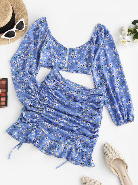 latest ZAFUL Floral Ruched Tie Ruffle Two Piece Dress Set - BLUE S Mobile