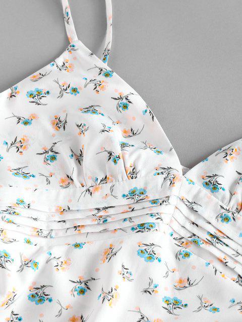 ZAFUL Ditsy Blumen Geraffte Vordere Cami Kleid - Weiß XL Mobile