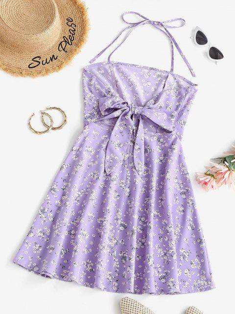 buy ZAFUL Floral Knotted Halter Backless Dress - PURPLE L Mobile