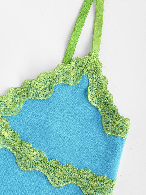 Spitze Panel Kopfsalat Geflochtene Jersey Leibchen - Blau L Mobile