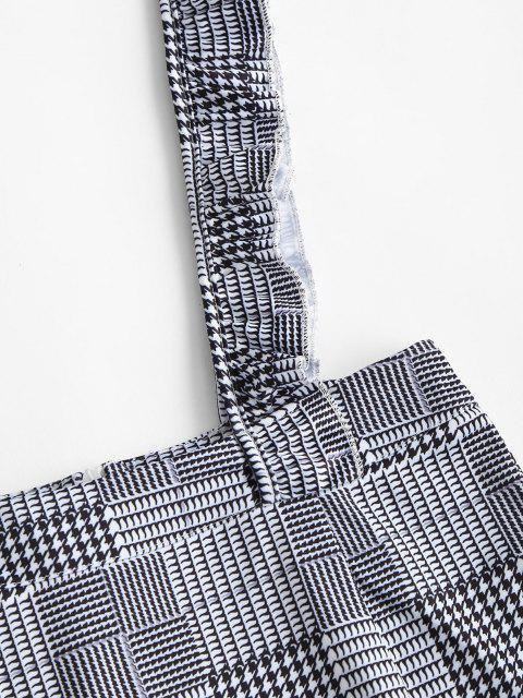 women's Plaid Ruffled Straps Suspender Mini Skirt - BLACK M Mobile