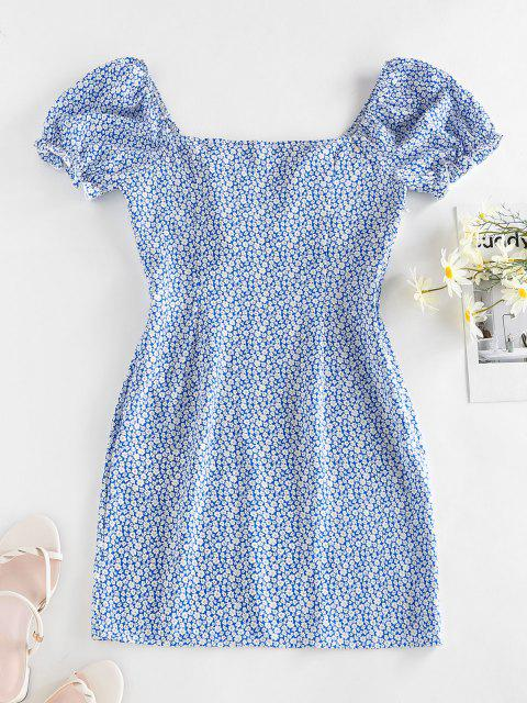 sale ZAFUL Ditsy Print Ruffle Puff Sleeve Milkmaid Dress - BLUE S Mobile