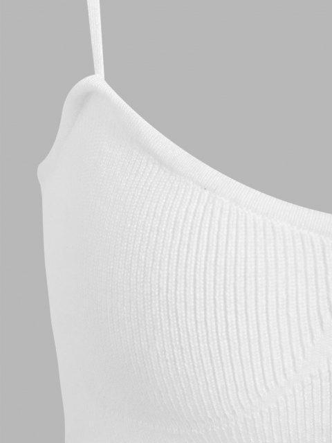 ZAFUL Gestricktes Schulterfreies Crop Cami Tanktop - Weiß L Mobile