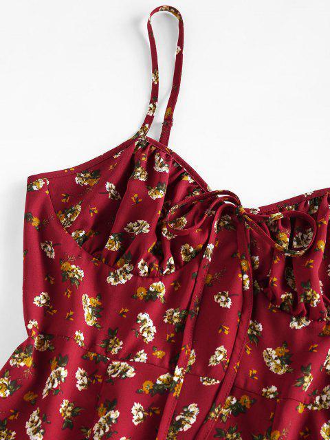 ZAFUL Mini Robe Fleurie Imprimée Fendue en Avant à Volants - Brique Réfractaire M Mobile