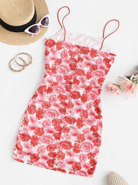 ZAFUL Robe Moulante Fleur en Maille à Volants - Rouge L Mobile