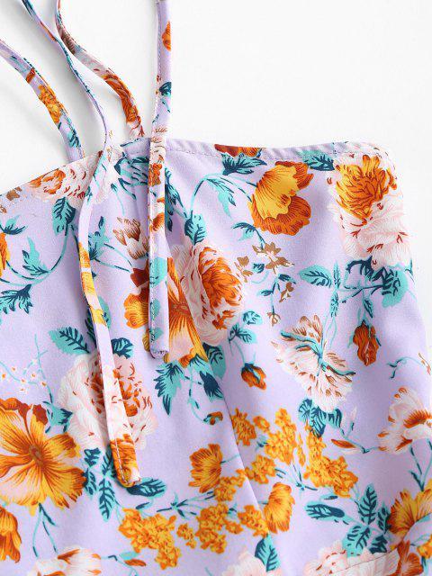 ZAFUL Robe Fleurie Epaule Nouée à Bretelle à Volants - Pourpre  S Mobile