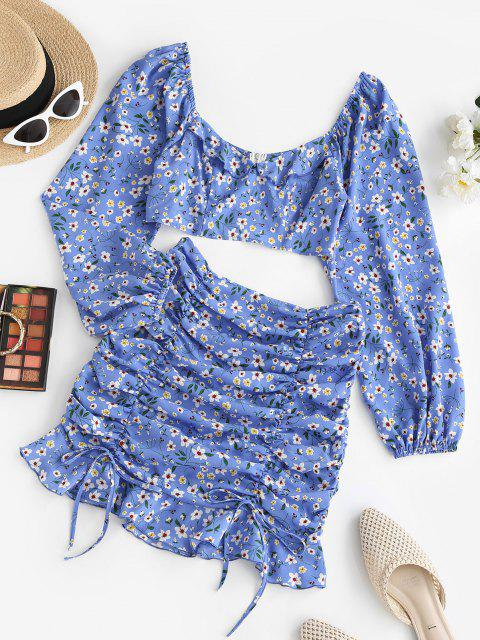 outfits ZAFUL Floral Ruched Tie Ruffle Two Piece Dress Set - BLUE L Mobile