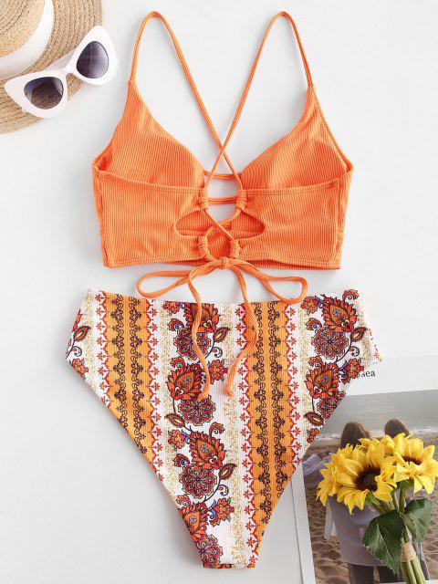 ZAFUL Gerippter Ethnische Blumen Mix And Match Tankini Badebekleidung mit Schnürung - Orange S Mobile