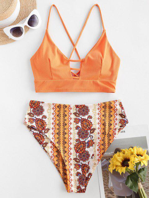 women's ZAFUL Ribbed Ethnic Flower Lace Up Mix and Match Tankini Swimwear - ORANGE L Mobile