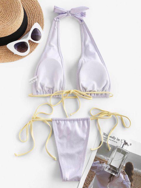 chic ZAFUL Halter Side Tie Plunge Shiny Disco Bikini Swimwear - LIGHT PURPLE S Mobile
