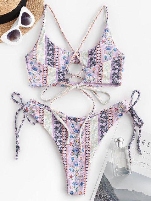 ZAFUL Maillot de Bain Bikini Côtelé Sanglé Cachemire Imprimé à Lacets - Violet clair M Mobile