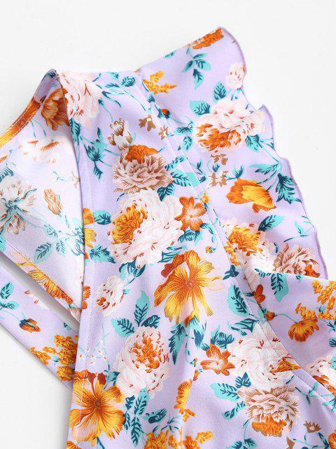 shop ZAFUL Floral Layered Flounce Ruffle Surplice Dress - PURPLE L Mobile