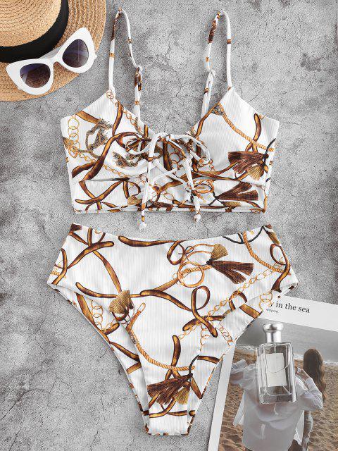 ZAFUL Maillot de Bain Tankini Côtelé Imprimé à Taille Haute à Lacets - Blanc L Mobile