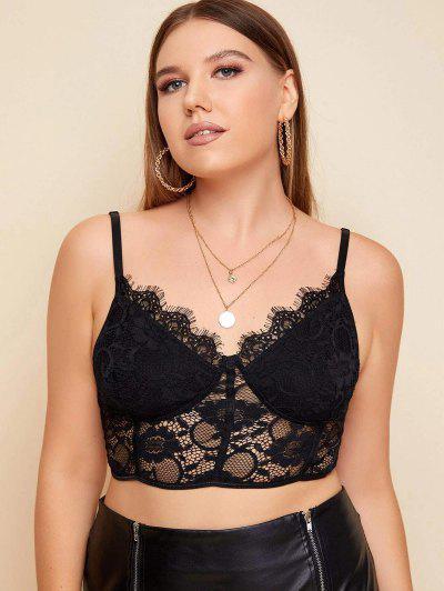 Scalloped Trim Eyelash Lace Plus Size Bralette - Black 1xl