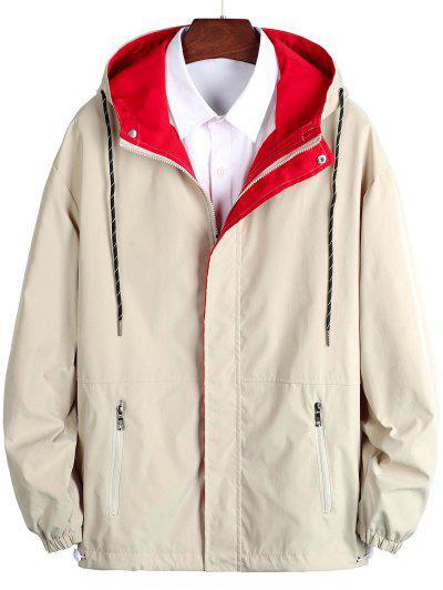 Hooded Zipper Pockets Drawstring Jacket - Khaki Xl