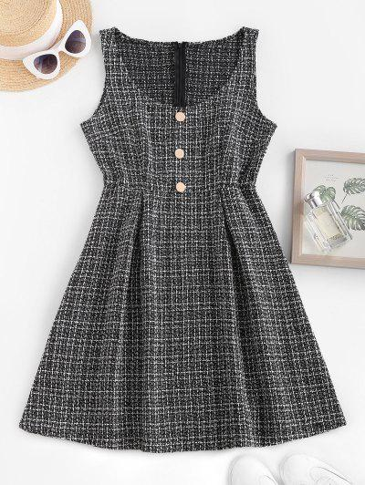 Metallic Buttons Plaid Tweed Pinafore Dress - Black S