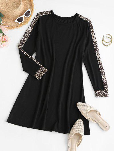 Leopard Insert Mini T Shirt Dress - Black M