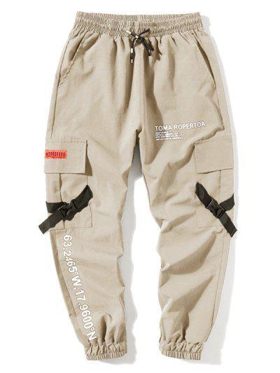 Letter Print Flap Pockets Cargo Jogger Pants - Apricot M