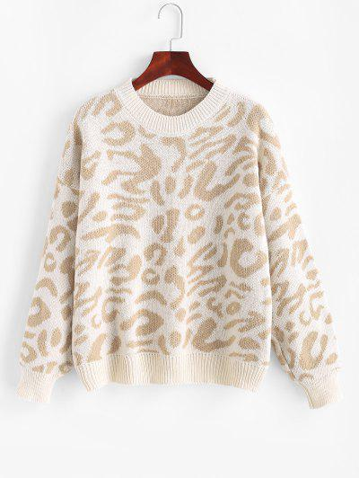 Drop Shoulder Crew Neck Leopard Sweater - Light Coffee