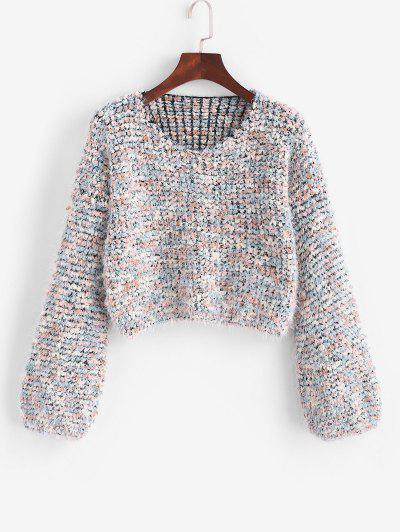 Camisola De Lã Tricotada Com Bainha Curvada - Multi