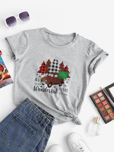 Marled Christmas Tree Car Print Tee - Light Gray M