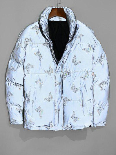 Reflective Butterfly Print Puffer Jacket - Twilight Gold 2xl