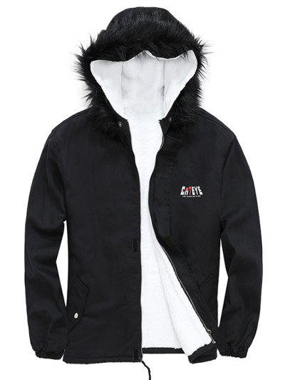 Detachable Faux Fur Cateye Plush-lined Hooded Jacket - Black 2xl