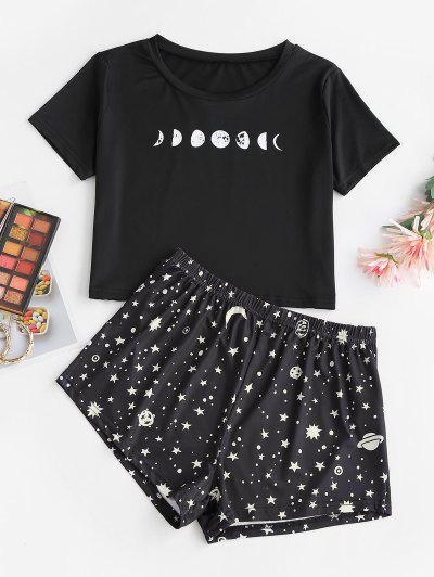 Star Moon Print Tee And Shorts Set - Black S